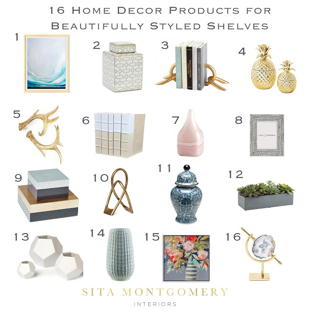6 Tips for Beautifully Styled Shelves/Shelving Decor Round Up