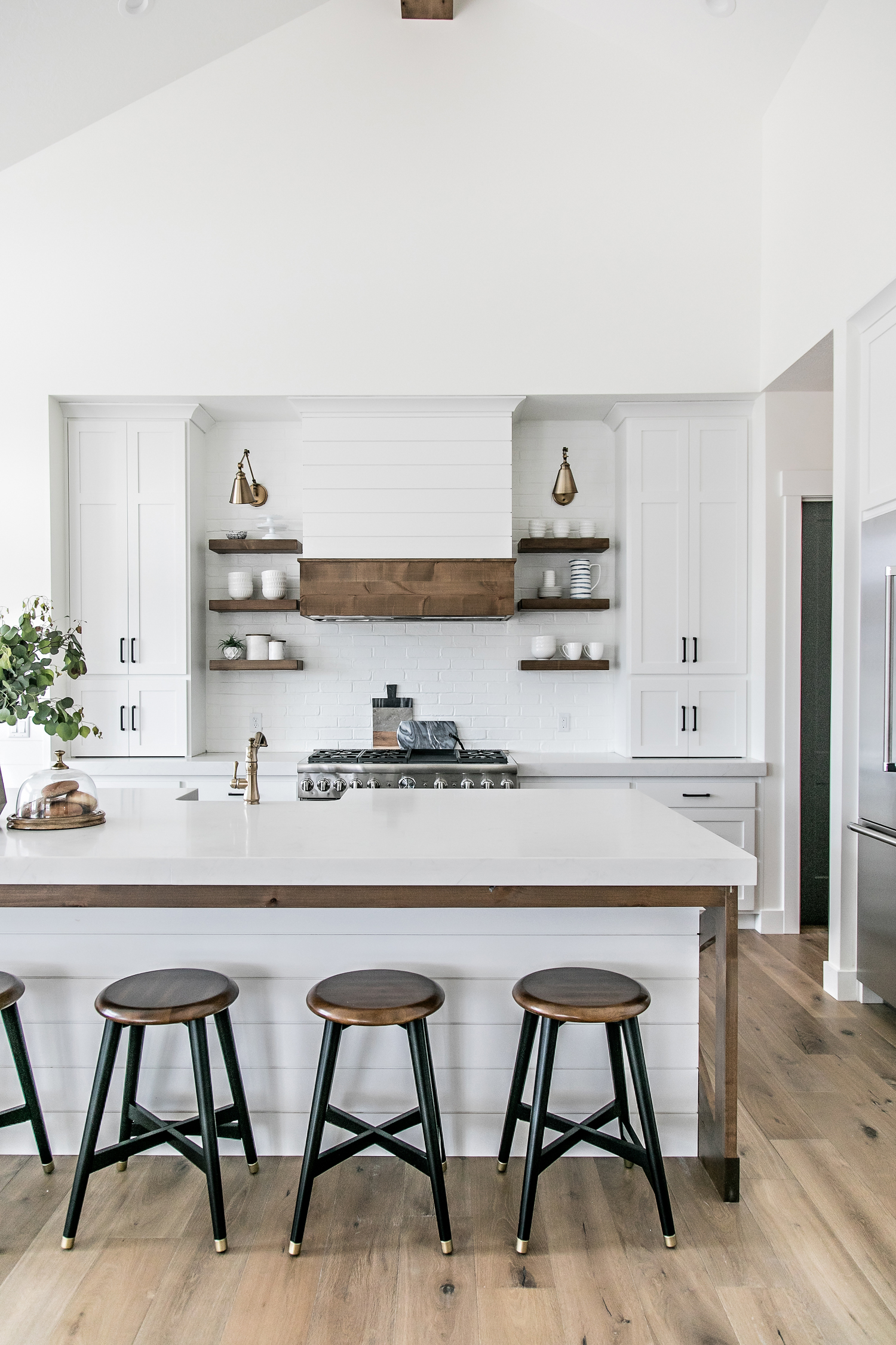the design of the kitchen centered around my desire to have a two toned island i designed the island to have a center base with shiplap detail - Modern Farmhouse Kitchen