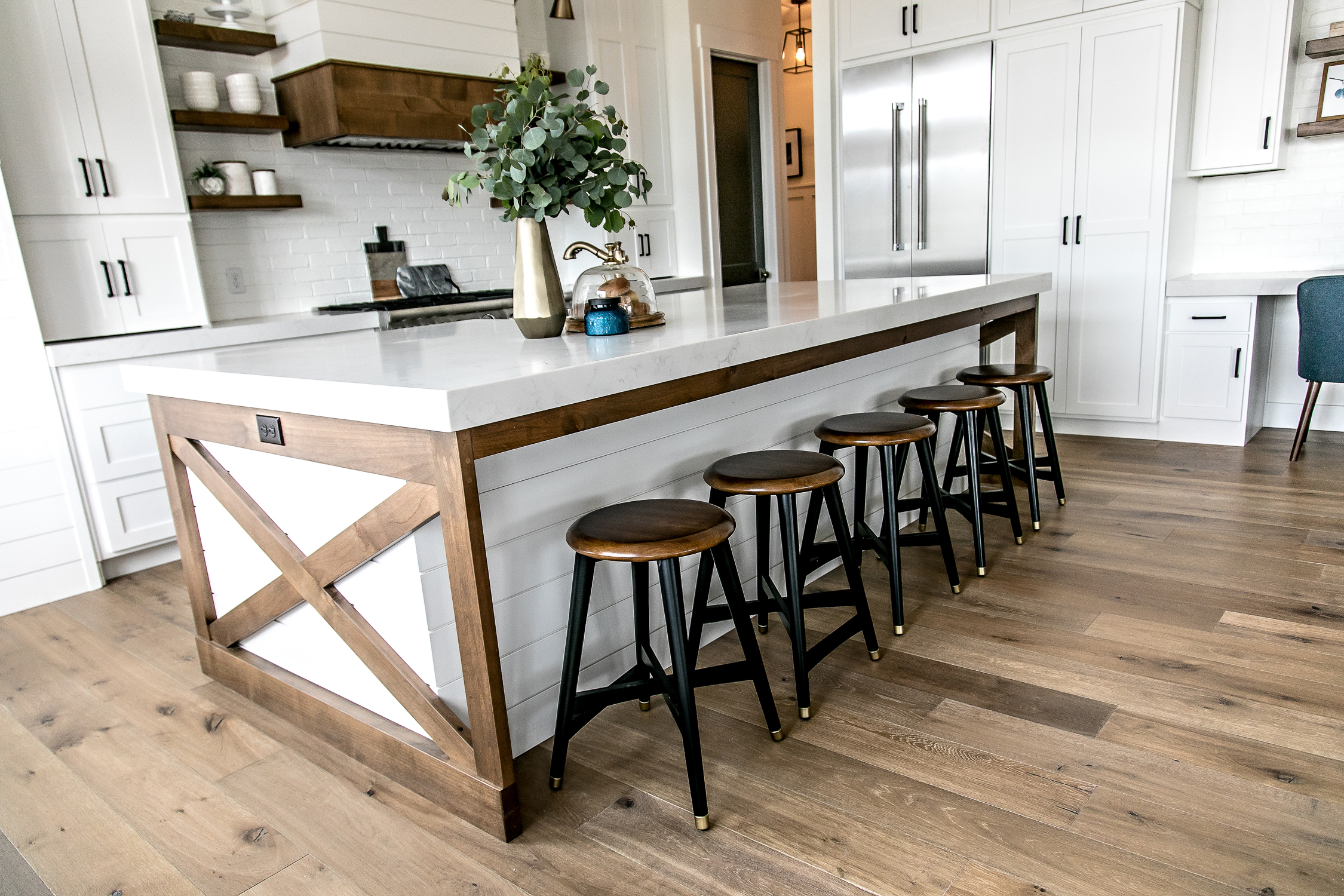 it was important to me to add some stained wood into the design of the kitchen to add warmth one way i did this was to accent the island with stained x - Modern Farmhouse Kitchen