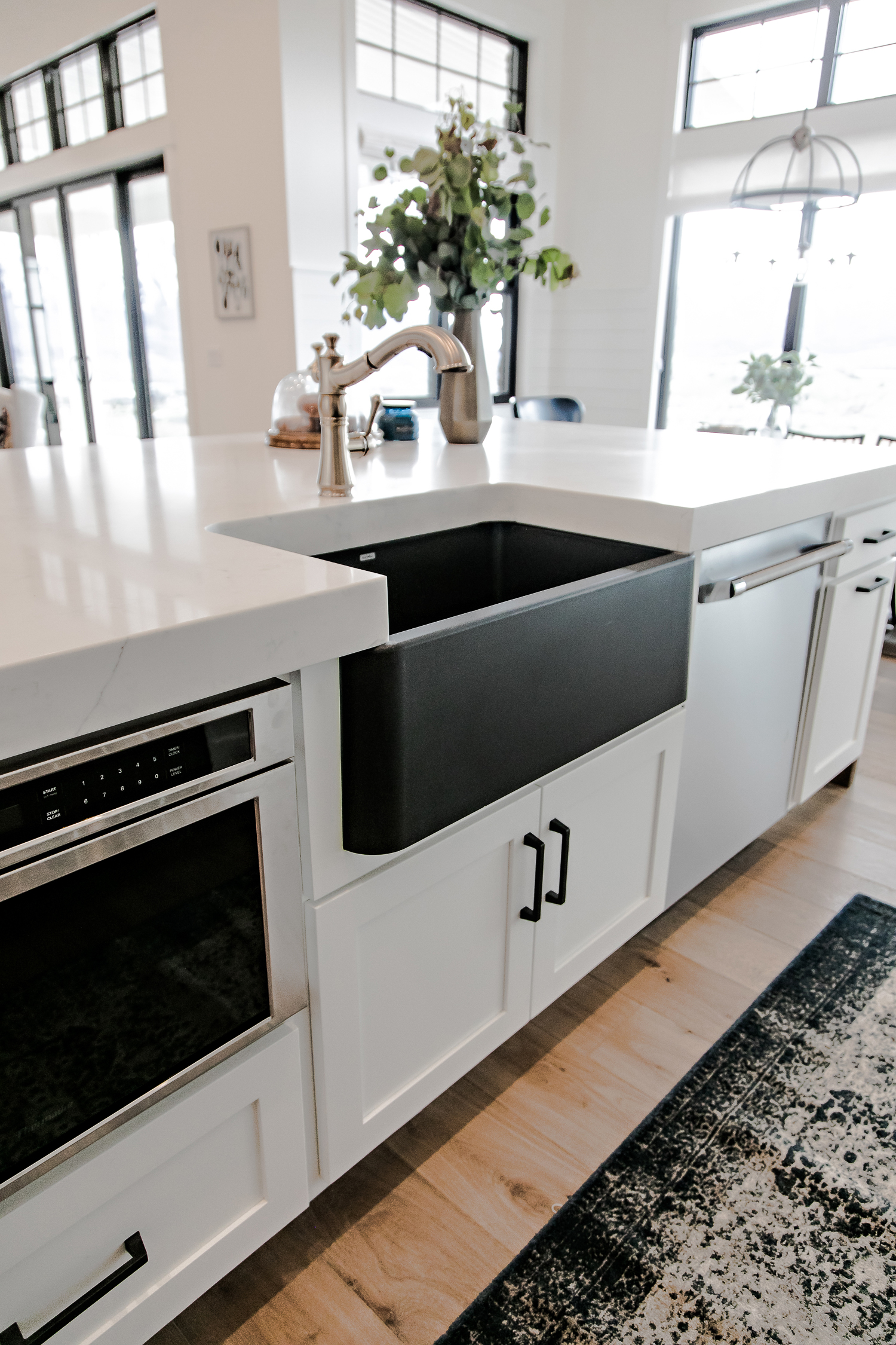 My Favorite Feature May Be The Black Silgranit, Farmhouse Sink From Blanco.  The Black Sink, With Brass Faucet, Set Agains The White Countertops And ...